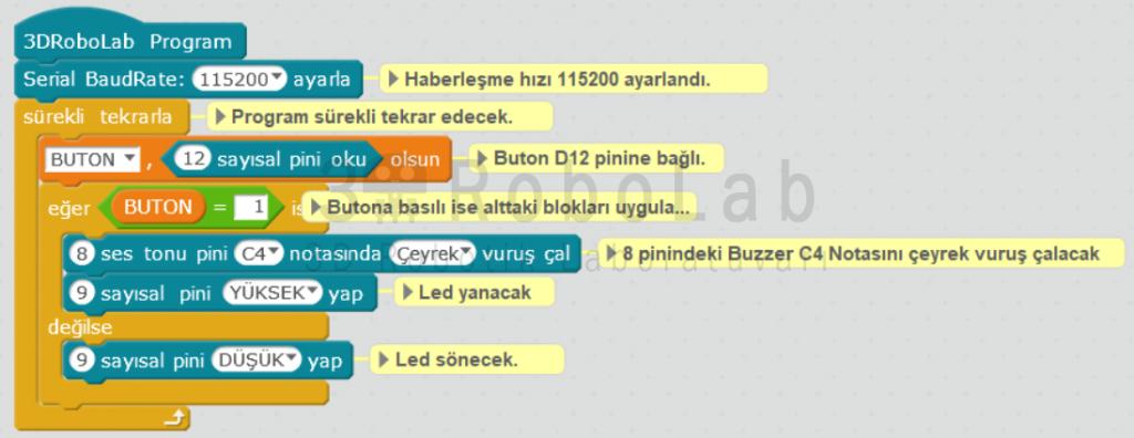 MBlock ile Buton, Buzzer ve Led Uygulaması